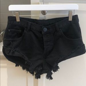 One Teaspoon Bandits Black Denim Shorts